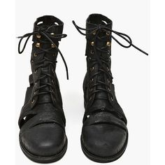 Slashed Combat Boot ($160) ❤ liked on Polyvore