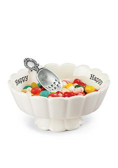 """Stamped ceramic """"Happy"""" candy dish features scalloped edges and pedestal. Dish arrives with vintage-style """"HAPPY HAPPY"""" silverplate scoop. Size: dish x 5 Mud Pie Kitchen, Kitchen Dishes, Kitchen Decor, Kitchen Dining, Kitchen Tips, Kitchen Gadgets, Kitchen Ideas, Dining Room, Mud Pie Dishes"""