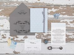 Magnolia Rouge: Classic Blue & Grey Invitations by Ruby and Willow #weddinginvitations #weddingstationery #invitations