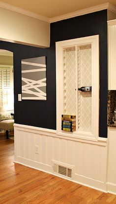 I LOVE THAT WALL HOLDER FOR WINE... and the picture next to it looks like an easy diy - AND I love the colors and the white wide beadboard... Could also make for cd's & dvd's