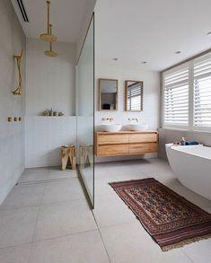 The Block 2019 Oslo: Master Ensuite reveals (Katrina Chambers) Ensuite Room, Bathroom Renos, Laundry In Bathroom, Beautiful Bathrooms, Modern Bathroom, Small Bathroom, Master Bathroom, Bathroom With Window, Light Grey Bathrooms