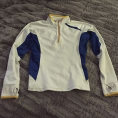 Nike running top Lightweight, breathable Nike running top in white with yellow piping and navy side panels. Good used condition. Nike Tops