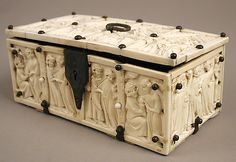 Casket,14th century,French,14th century. Ivory with metal mounts.