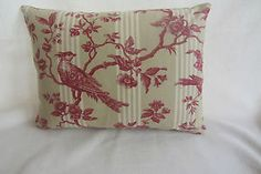 Red Ticking Tolie with Plain Beige Back Cushion Cover | eBay