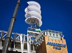 New wind turbine on top of the Cleveland Indians ballpark. Designed specifically for use in dense urban areas where wind speeds fluctuate.