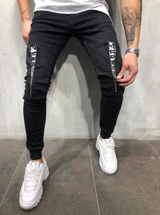 Men ZipItUp Skinny Fit Joggers Jeans - Black 4015 Mens Jogger Pants, Fitted Joggers, Men Street Look, Streetwear Jeans, Joggers Outfit, Mode Jeans, Best Mens Fashion, Denim Jeans Men, Jeans Style