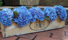 Monogrammed Planter Box-weddings,decoration,wedding planter,rustic wedding,centerpiece,distressed,monogram,paint, flower box