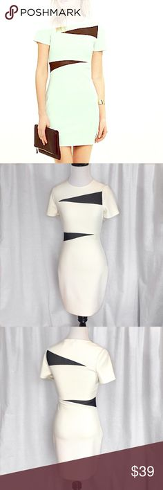 """Express // Mesh Inset Body Con Mini Dress New without tags. Fun and flirty jacquard white body con mini dress with black mesh insets. Hidden zipper at side. Approx 14.5"""" across chest, 18"""" across hips, and 32.5"""" from shoulder to hem. No stains or imperfections. 🚫trades🚫 smoke free home Express Dresses Mini"""