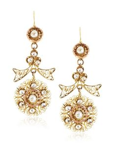 Beyond 50% OFF Doyle & Doyle Victorian Filigree Pearl Drop Earrings