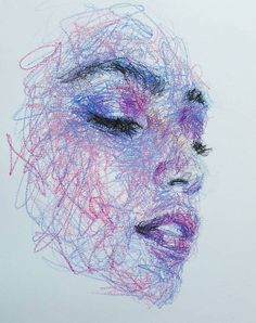 Self-Taught Artist Makes Amazing Female Portraits Based On Doodles Cool Art Drawings, Art Drawings Sketches, Drawings Of Faces, Pencil Sketches Of Faces, Art Faces, Colorful Drawings, Arte Grunge, Scribble Art, Arte Sketchbook