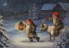 Artist cards not for trade - maria-liisa Paksuniemi - Picasa-Webalben Scandi Christmas, Christmas Gnome, Vintage Christmas, Christmas Cards, Christmas Ideas, Goat Picture, Design Steampunk, Baumgarten, Goat Art