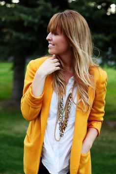 Perfect hair color, loving the bright yellow jacket Perfect Hair Color, Teacher Outfits, Teacher Clothes, Orange Blazer, Mellow Yellow, Bright Yellow, Ethical Fashion, Style Me, Fashion Beauty