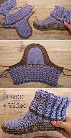 Amazing Knitting provides a directory of free knitting patterns, tips, and tricks for knitters. Beanie Knitting Patterns Free, Knit Slippers Free Pattern, Crochet Shoes Pattern, Crochet Boots, Knitted Slippers, Knit Or Crochet, Loom Knitting, Knitting Stitches, Knitting Socks