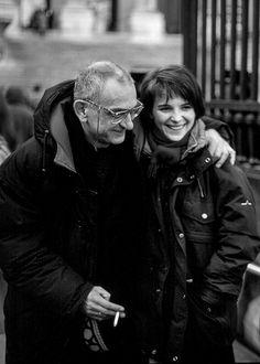 Krzysztof Kieslowski & Juliette Binoche on the set of Trois Couleurs: Bleu