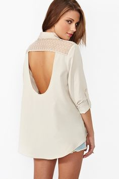 Lace Cutout Blouse in Bone