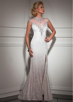 Elegant Tulle & Lace High Collar Neckline Sheath Prom Dresses