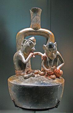 Pottery with two figures Pottery with two figures,terracotta, Cupisnique culture,:Peru