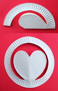 Pop up hats made out of paper plates - kids craft idea for Valentines day