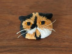 Meme the Cat Embroidery Art Brooch.
