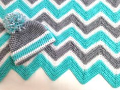 Large Chevron Crochet Baby Blanket 36X42 and Hat by MalloriDesigns, $85.00