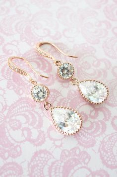 Rose Gold Cubic Zirconia Teardrop Earrings - gifts for her, bridal shower gifts, drop, dangle, pink gold weddings, bridesmaid earrings, www.colormemissy.com