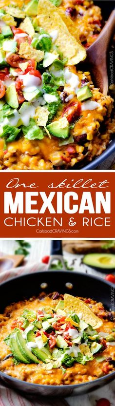 Creamy, Cheesy One Skillet Mexican Chicken and Rice on your table in 30 minutes! My family BEGS me to make this constantly and I LOVE it too!  Quick, easy and packed with flavor and texture!  We also love it as the base for taco salad.  You definitely have to try this one! via @carlsbadcraving
