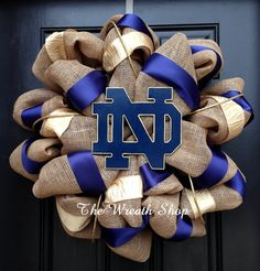 Notre Dame Burlap Wreath by CreationsbySaraJane on Etsy, $90.00