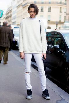 Leona Binx Walton will have you wanting to wear an all-white ensemble with sneakers. // #StreetStyle #Fashion