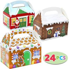 24 Pieces Christmas House Cardboard Treat Boxes for Holiday Xmas Goody Gift, Goodie Paper Boxes, School Classroom Party Favor Supplies, Candy Treat Cardboard Cookie Boxes. Christmas Gift Box, Christmas Gift Wrapping, Christmas Design, Christmas Humor, Xmas, Christmas Cookies, Candy House, Christmas Gift Decorations, Cookie Box
