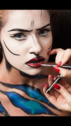 Final touches ! Pop Art makeup by Karla Powell