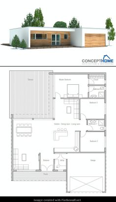 Contemporary Home Plan with three bedrooms, two bathrooms, big windows and… Contemporary House Plans, Modern House Plans, Small House Plans, Loft Floor Plans, House Floor Plans, House Layout Plans, House Layouts, Big Modern Houses, Philippines House Design