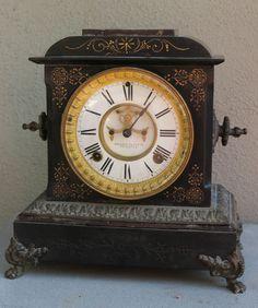 Antique Iron bronze ANSONIA mantel clock PART enamel face Pendulum ASIS no KEY