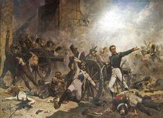 Pintura al óleo de Joaquín Sorolla de 1884, representa la defensa a manos de los oficiales Luis Daoíz y Pedro Velarde del parque de artillería de Monteleón durante el levantamiento del 2 de mayo en Madrid, que se produjo a causa del malestar popular y la salida de la familia real a Bayona. Provocó la represión francesa (fusilamientos del 3 de mayo), y extendió la insurrección por España que desembocaría en el inicio de la guerra tras las abdicaciones de Carlos IV y Fernando VII el 5 y 6 de…