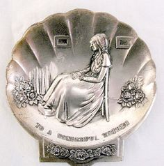Collectible Metal Ashtray with Whistlers Mother as A  Raised Design Marked To A Wonderful Mother 1950-60s Japan