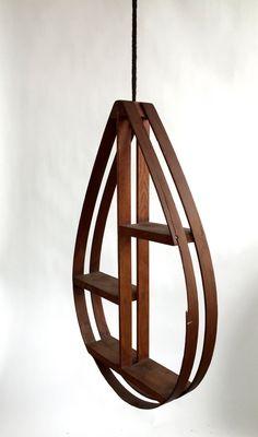 FLOATING / Hanging Wood Shelf by VintageCommon on Etsy