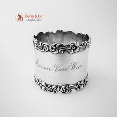 Floral Scroll Napkin Ring Sterling Silver Wilcox Silver Plate 1920 Silver Napkin Rings, Sterling Silver Rings, Antique Silver, Silver Plate, Berries, Napkins, Plates, Floral, Licence Plates