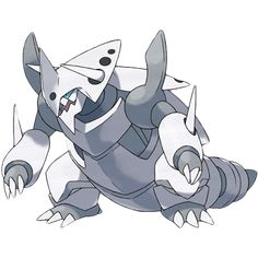 Mega Aggron - 306 - It claims an entire mountain as its own. The more wounds it has, the more it has battled, so don't take it lightly. While seeking iron for food, it digs tunnels by  breaking through bedrock with its steel horns.  @PokeMasters