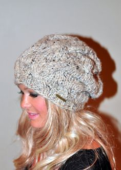 Slouchy Hat Slouch Beanie Cable Hat Hand Knit Winter by lucymir, $62.99