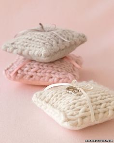 Knitted Wedding Ring Pillow, great for Roving Wool