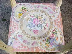 broken china mosaic side table bottom shelf (pair in progress)