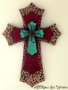 Three Layer Leopard Wall Cross by aDOORableDecoWreaths on Etsy Painted Wooden Crosses, Wood Crosses, Hand Painted, Cross Love, Sign Of The Cross, Wooden Cross Crafts, Leopard Wall, Cross Wreath, Mosaic Crosses