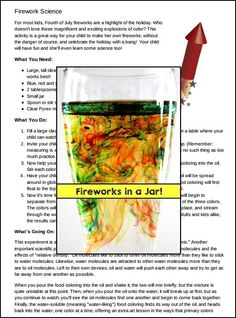 """FREEBIE Download this FUN and SAFE """"Fireworks in a Jar"""" Science activity!"""