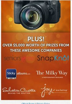 Win a Canon 70D plus other awesome prizes! via @stickyalbums @Bertha Stein Ignite @SnapKnot @Sarah Chintomby Petty