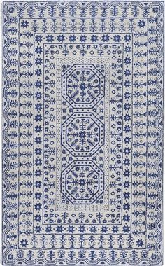 Smithsonian Collection New Zealand Wool Area Rug in Navy and Ivory by Surya Rugs - www.burkedecor.com/