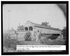 Double wooden bridge, National Road, Cambridge, Ohio