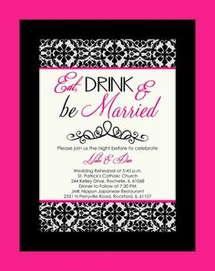 Eat Drink & Be Married Rehearsal Dinner Invitation  by CAMRYNJOLEE, $15.00