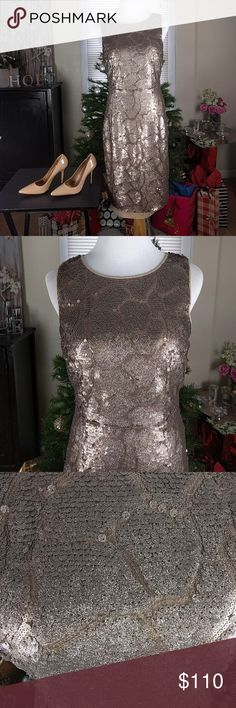 "Antonio Melani Maura Gold Sequin Mesh Sheath Dress Maura Sequin Mesh Sleeveless Sheath Dress  Gold Sequin Form fitting Lined Concealed back zipper B: 16"" (underarm to underarm) L:  37"" (center holder to hem) Hem and eye closure has become loose and needs to be restitched ANTONIO MELANI Dresses"