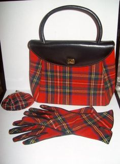 Vintage ROYAL STEWART/STUART tartan red plaid handbag/gloves/change purse.