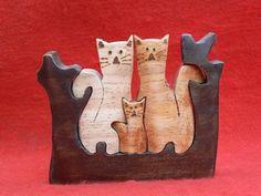 Artesanato Paraty - Artesanato em madeira: Gato 007 10x12cm R$ 16,00