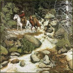 Bev Doolittle pic -- I count 5 faces in the rocks